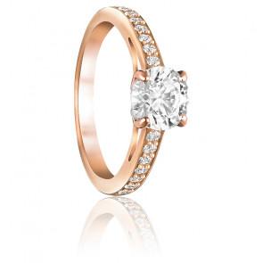 Bague attract round métal doré rose & cristaux