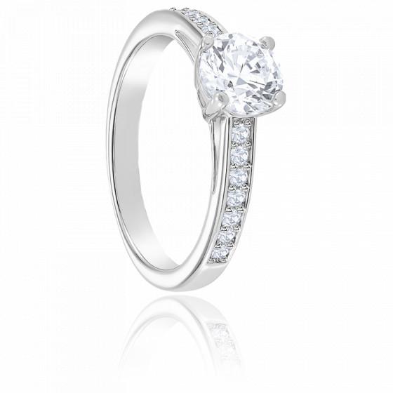 Bague attract round métal rhodié & cristaux - Ocarat