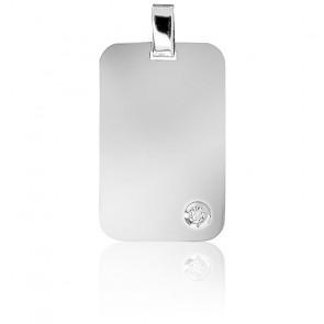 Pendentif Plaque Or Blanc & Diamant 0,05 ct