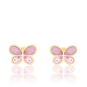 Boucles d'oreilles papillon rose or jaune