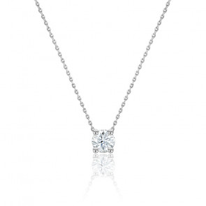 Collier diamant solitaire H/SI1 or blanc 18K