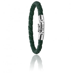 Bracelet Ben XS vert en Argent et Cuir