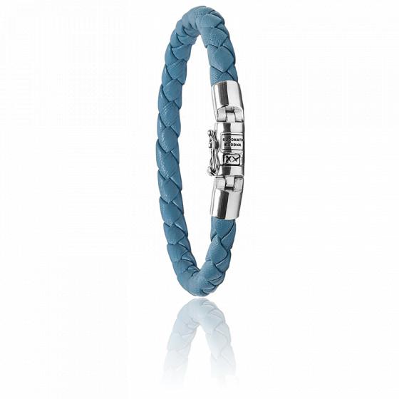 Bracelet ben xs bleu en argent et cuir