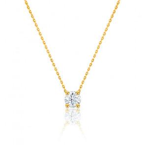 Collier diamant de synthèse & or jaune 18 K