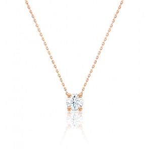 Collier diamant de synthèse & or rose 18 K