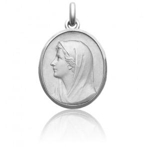 Médaille Vierge Au Voile 27 mm Or Blanc 18K