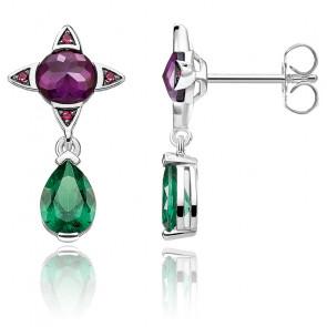 Boucles d'oreilles goutte verte avec pierre violette, H2073-348-7