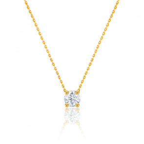 Collier Diamant Solitaire H/SI1 Or Jaune 18K