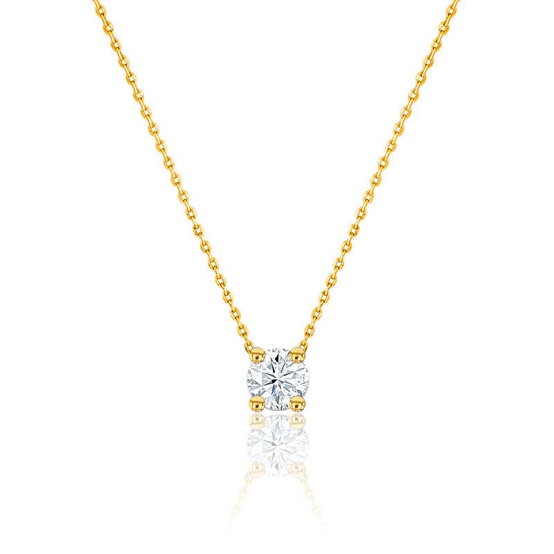 Collier diamant solitaire H/SI1 or jaune 18K