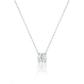 Collier Diamant Solitaire GVS Or Blanc 18K