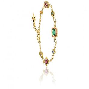 Bracelet porte-bonheur plaqué or & pierres fines, A1914-973-7