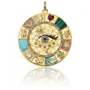 Pendentif amulette argent & plaqué or, PE855-993-7