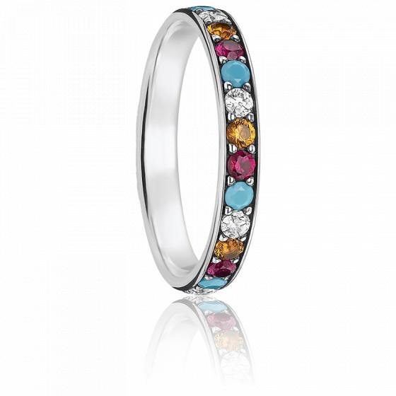 bague argent pierres multicolores