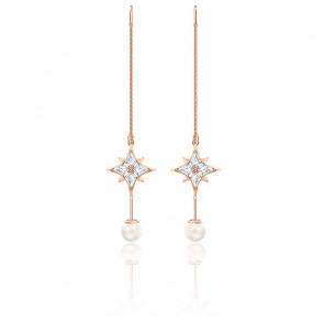 Boucles d'oreilles chaîne Symbolic, blanc, Métal doré rose, 555432