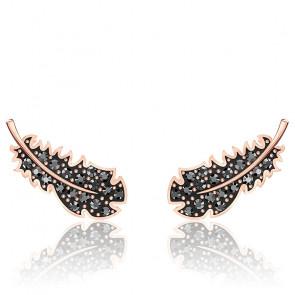 Boucles d'oreilles naughty, noir, métal doré rose 5509722