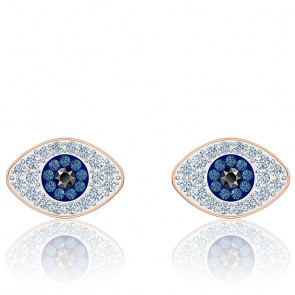 Boucles d'oreilles clous symbolic bleu & métal doré rose 5510067