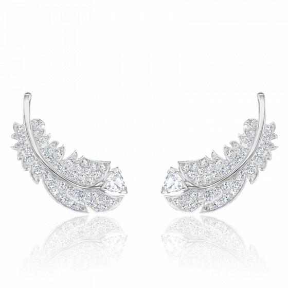 Boucles d'oreilles clous nice blanc & métal rhodié 5482912