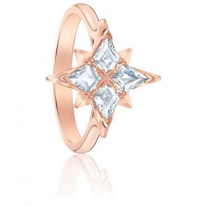 Bague symbolic star, blanc, métal doré rose