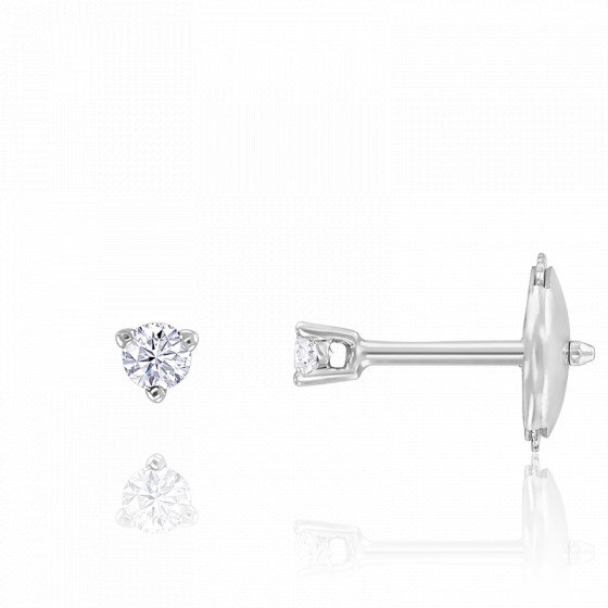 Puces d'oreilles diamants shine 3 griffes HSI & or blanc