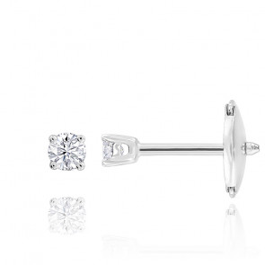 Puces d'oreilles diamants shine 4 griffes HSI & or blanc