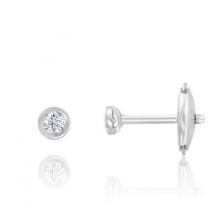 Puces d'oreilles diamants clos HSI & or blanc