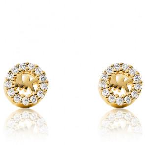 Boucles d'oreilles MK & zircons, plaqué or jaune 14k