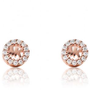 Boucles d'oreilles MK & zircons, plaqué or rose 14k