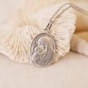 Médaille Ovale Vierge à l'Enfant Or Blanc 18K
