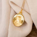 Médaille Ovale Vierge à l'Enfant Or Jaune 9K