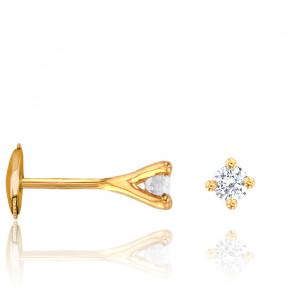 Puces d'oreilles diamants étoile 4 griffes GSI & or jaune