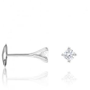 Puces d'oreilles diamants étoile 4 griffes GSI & or blanc