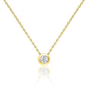 Collier Diamant Clos Or Jaune 0,15 ct HSI
