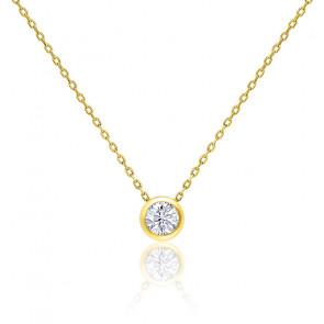 Collier Diamant Clos Or Jaune 0,25 ct
