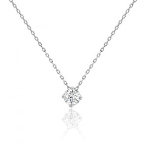 Collier diamant solitaire 4 griffes HSI & or blanc