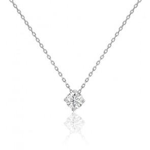 Collier diamant solitaire 4 griffes HSI & or blanc 18K