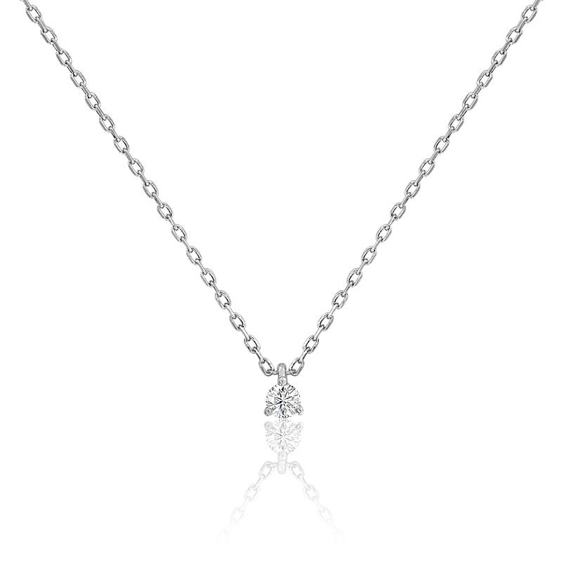Collier diamant solitaire 3 griffes HSI & or blanc