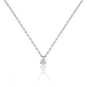 Collier diamant solitaire 3 griffes HSI & or blanc 18K