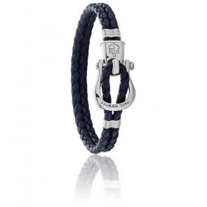 Bracelet acier argenté et cuir bleu marine
