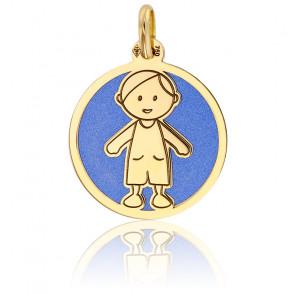 Médaille Petit Garçon Bleu & Or Jaune 18K