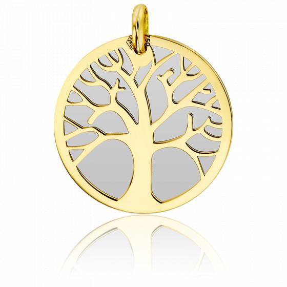 Médaille Arbre de Vie Acier Gris & Or Jaune 9K