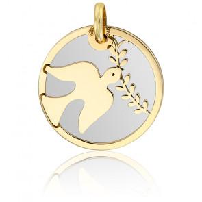 Médaille Colombe au Rameau Or Jaune 9K & Acier Gris