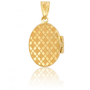 Pendentif porte photo damier or jaune 9K