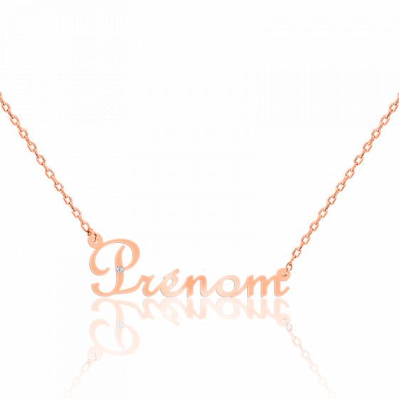 Collier prénom or rose 9K, diamant 0,015 ct
