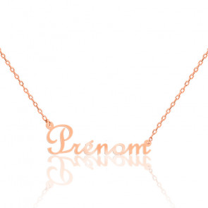 Collier prénom or rose 9K