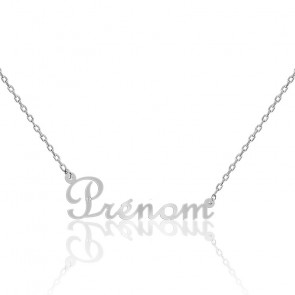 Collier prénom or blanc 18K, diamant 0,015 ct
