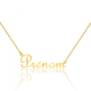 Collier prénom or jaune 9K, diamant 0,015 ct