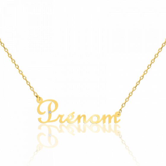 Collier prénom or jaune 9K, diamant 0,015 ct
