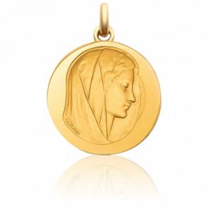 Médaille Vierge Purissima Ronde Or Jaune 18K