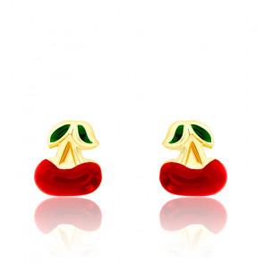 Boucles d'oreilles cerise email & or jaune 18K