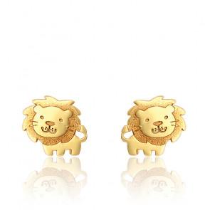 Boucles d'oreilles lion or jaune 9K